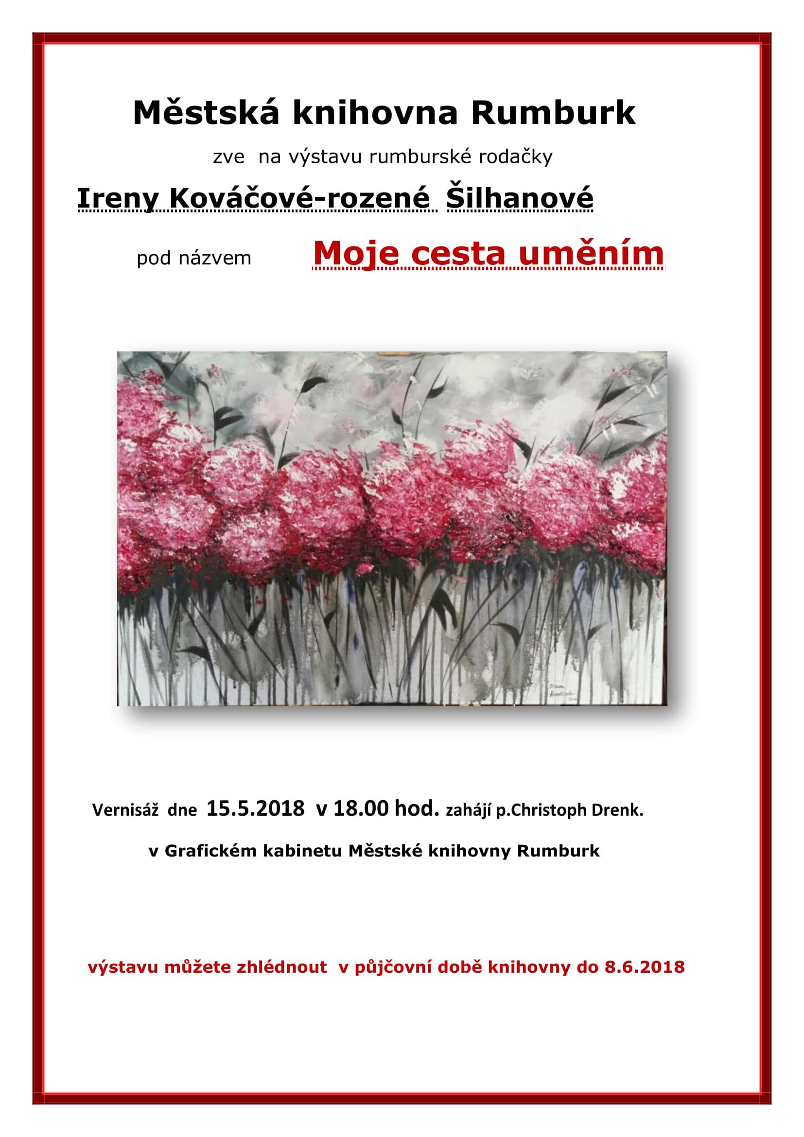 Pozvání do Městské knihovny Rumburk na výstavu rumburské rodačky Ireny Kováčové-Šilhanové