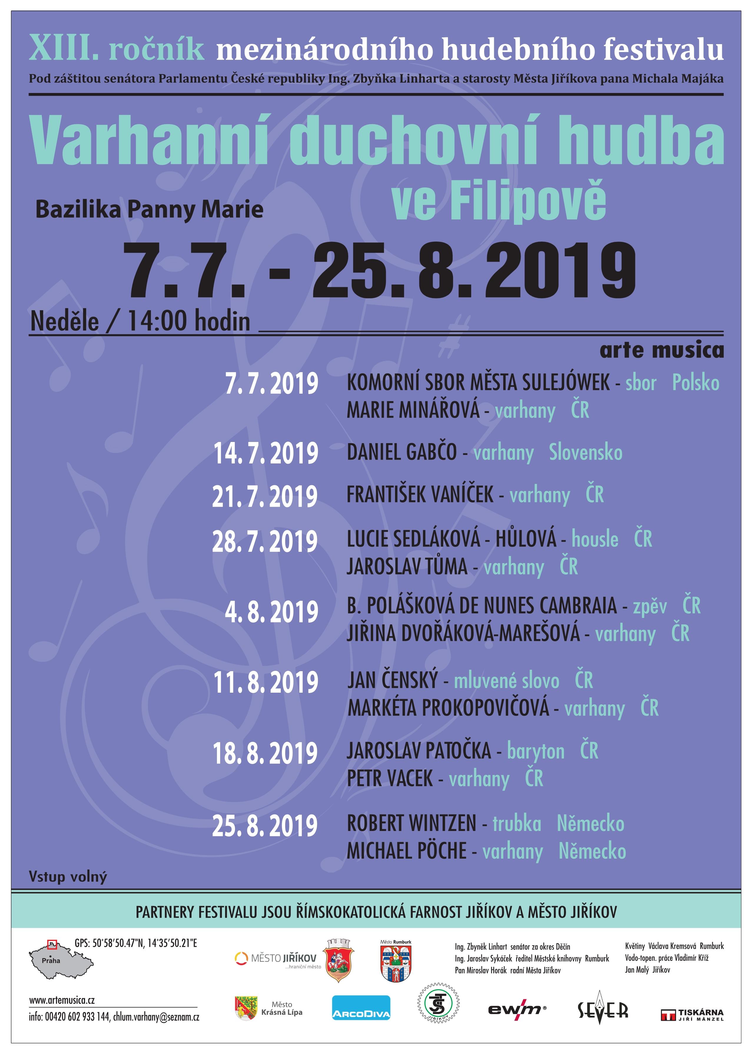 Festival Varhanní duchovní hudba 2019 ve Filipově