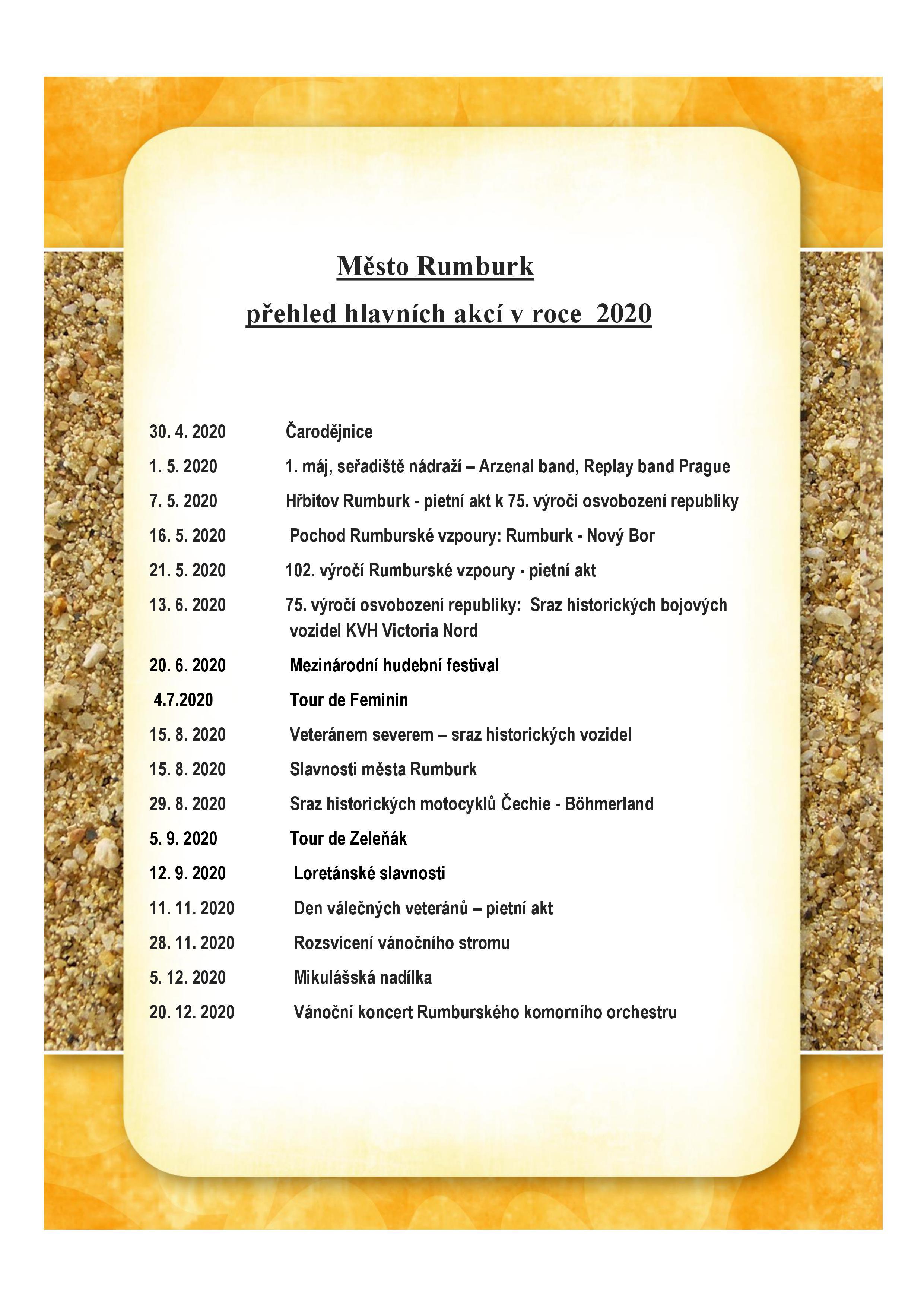 Přehled hlavních akcí města Rumburk v roce 2020