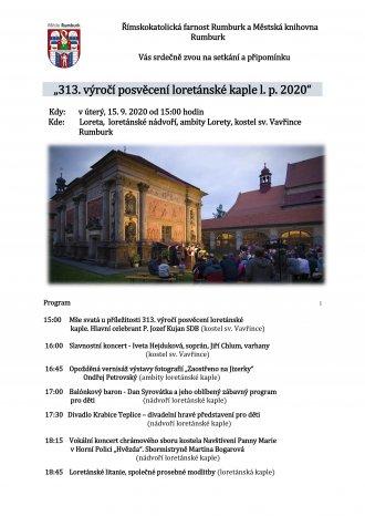 313. výročí posvěcení loretánské kaple l.p. 2020